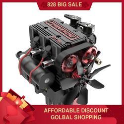 FS-L200 двухцилиндровая Модель двигателя RC модель двигателя красная Модель двигателя мультимодульная конструкция высокотехнологичный подар...