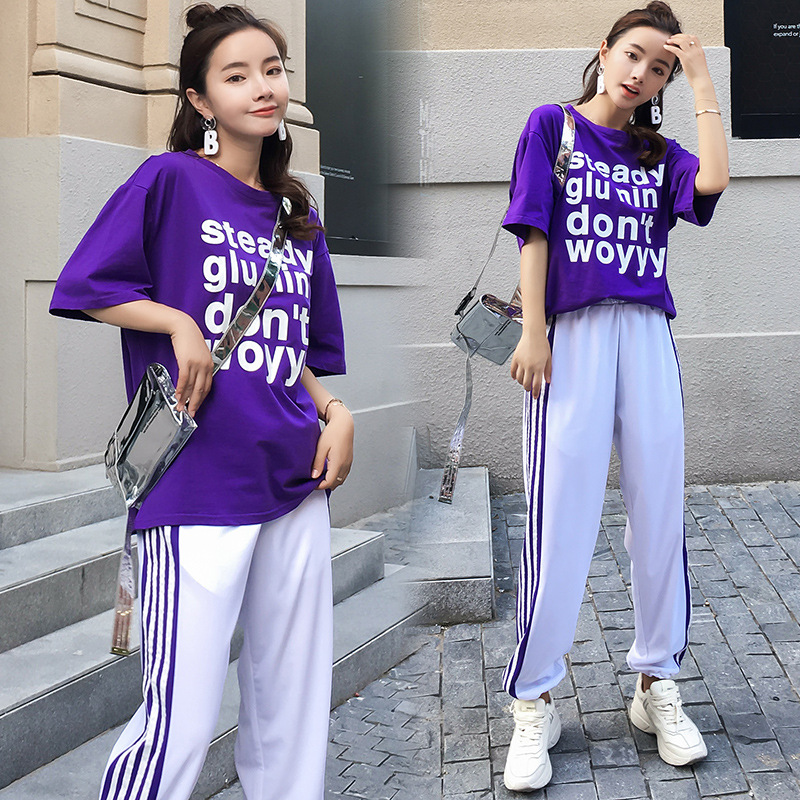 2018 Summer New Style Korean-style Loose-Fit Women's Shinko Wei Wang Red Fashion Loose Pants Two-Piece Set