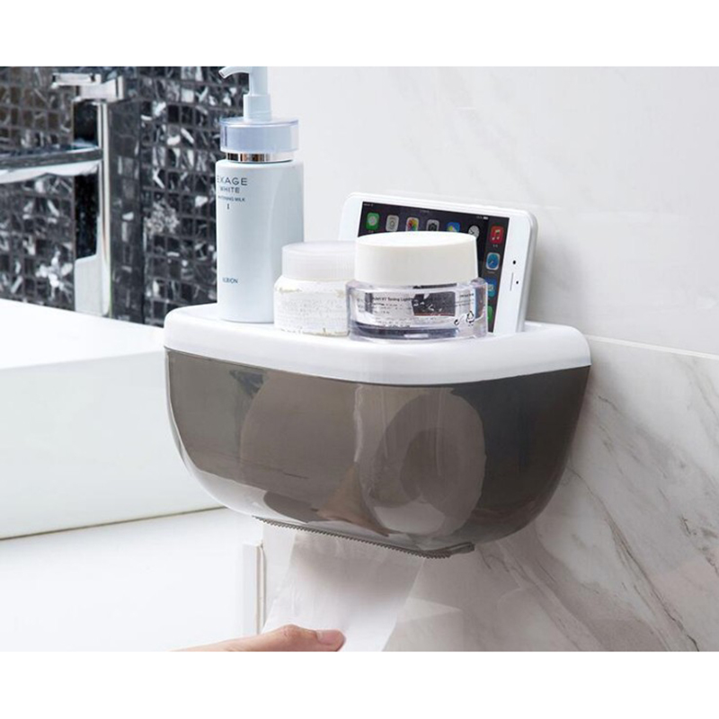 Home Suction Cup Paper Towel Holder Bathroom Tissue Box Tray Waterproof Toilet Paper Holder in Storage Shelves Racks from Home Garden