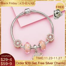 ATHENAIE Authentic 925 Sterling Silver Pink Planet Charms Bracelet with CZ Charm Beads for Women Valentines Day Gift Color Pink