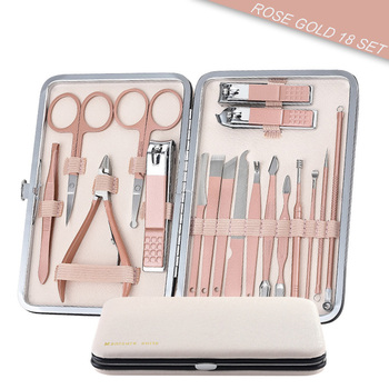Hottest Stainless Steel Nail Clippers Manicure Tool Pedicure Sets 18 Piece Trimmer Nipper Scraper Scissors With Newest Color 4