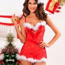 Рождественский женский сексуальный Рождественский праздничный кардиган с капюшоном, красный комплект нижнего белья, сексуальные костюмы FDH