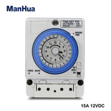 Manhua 24h 12vdc 15a din trilho temporizador interruptor tb35 analógico controlador de tempo mecânico