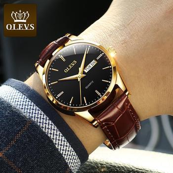 OLEVS Top Brand  Men Classic Quartz Waterproof Watch Leather Strap Business Popular Casual Men Watch 1