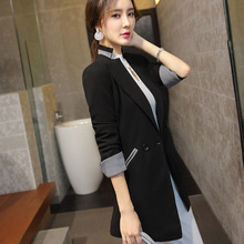 Маленький женский костюм, женское весеннее и осеннее пальто, приталенный костюм средней длины для отдыха, длинный рукав, Qyiding11200