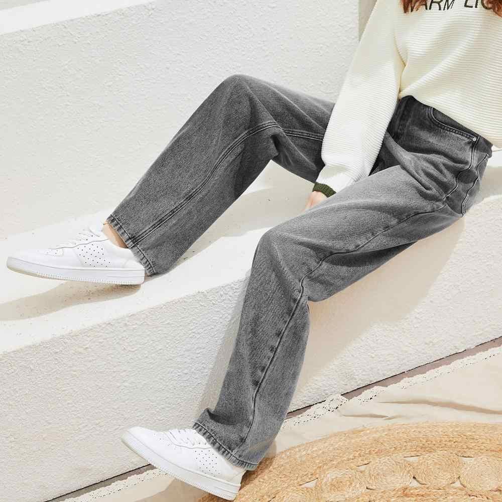 Metersbonwe 여자를위한 느슨한 청바지 넓은 다리 청바지 여자 세련된 데님 바지 2020 봄 새로운 캐주얼 청바지 고품질 Streetwear