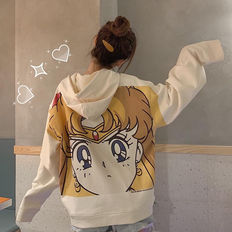 Streetwear Sweatshirt Harajuku Sailor Moon Cartoon Print Hoodie Women Loose Casual Cute Pocket Long Sleeve Pullover Tops Clothes