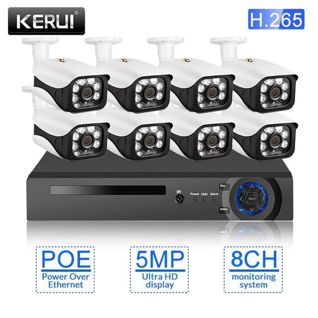Kerui H.265 8 チャンネル 5MP poeカメラシステムcctvキットセキュリティカメラIR CUT防水カメラビデオ監視顔検出