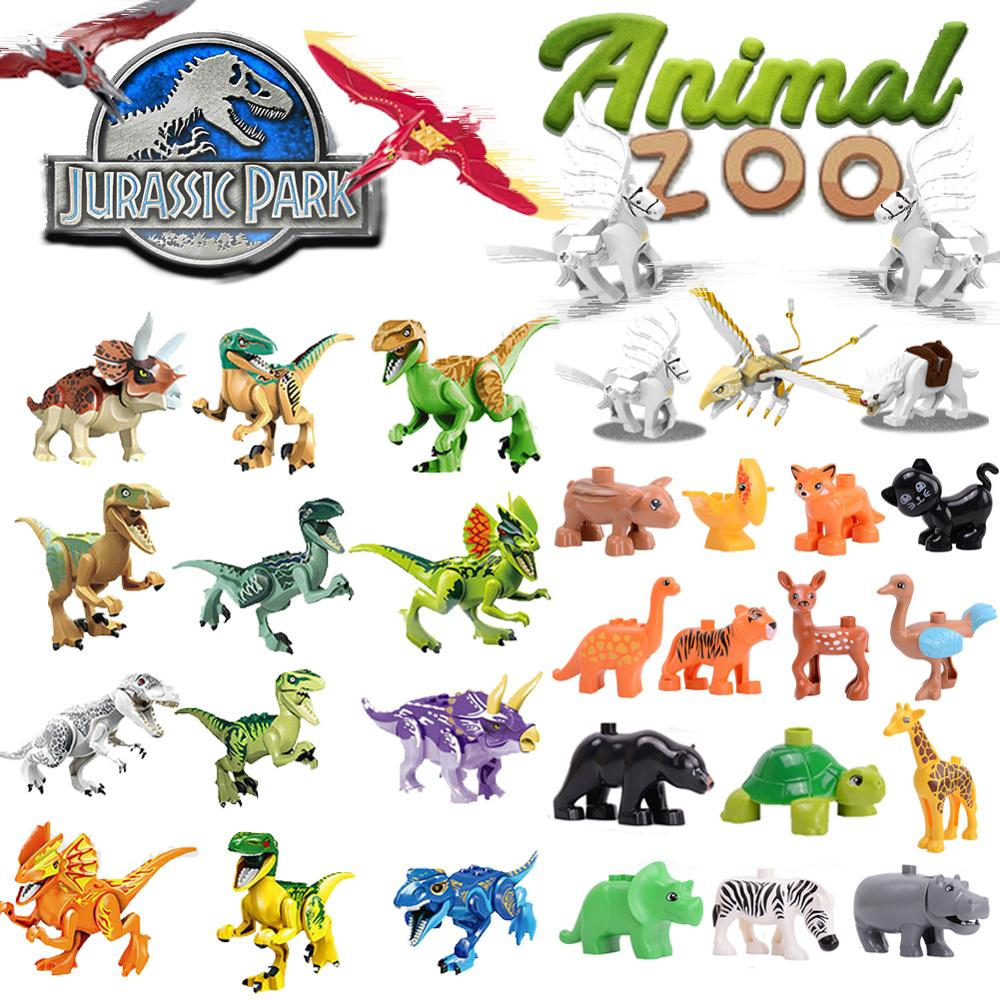 Zoo Animals Model Dinosaur Ice Age Shark DIY Big Particles Bricks Accessory Building Blocks Toys For Children Christmas Gift
