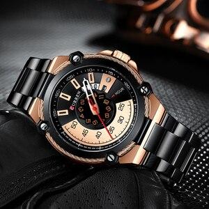 Image 4 - Marka mężczyźni zegarki biznesowe ze stali nierdzewnej CURREN kwarcowy zegarek wojskowy moda przyczynowy mężczyzna zegar Auto data Relogio Homem