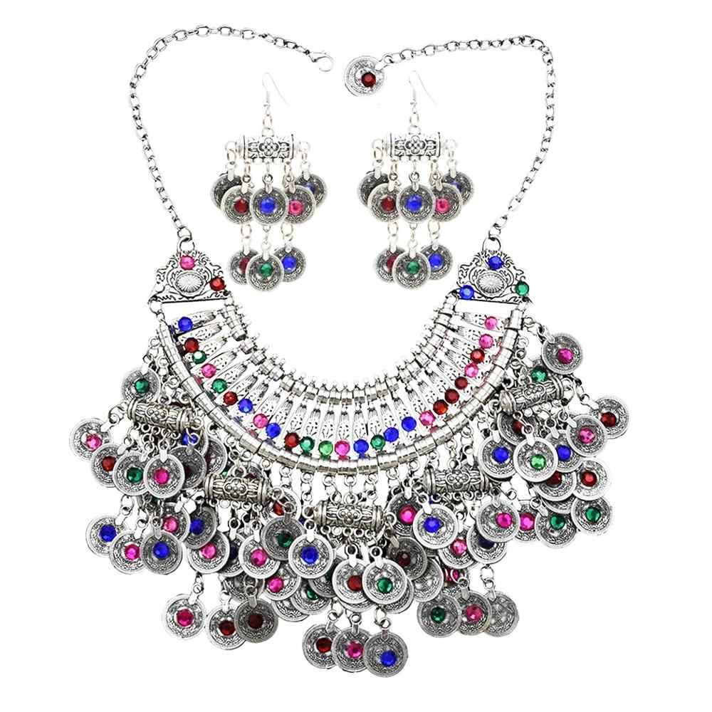 Afghan Silver Coin Tassel Big Bib Statement Necklace & Earring for Women Turkish Gypsy Metal Rhinestone Necklace Party  Jewelry