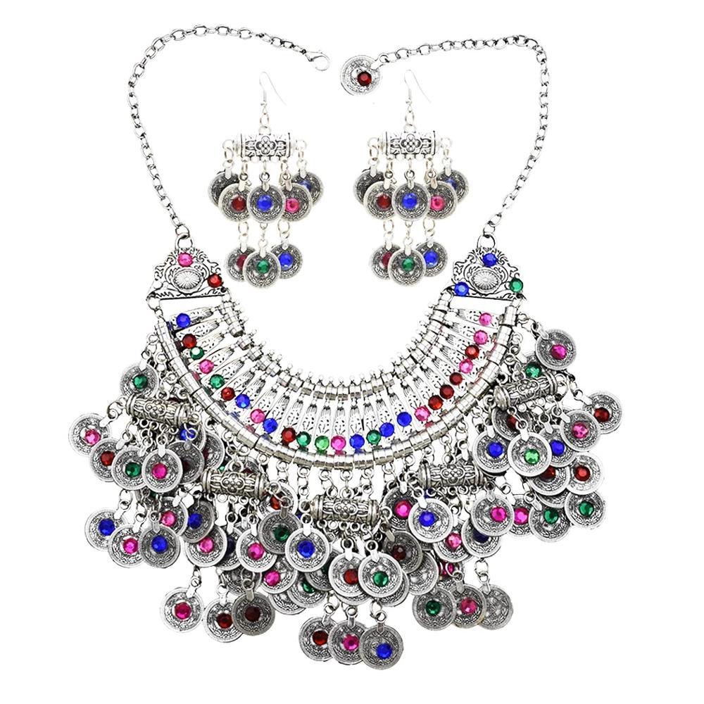 Afganistán moneda plateada Bib borla declaración collar y pendiente para las mujeres gitano, Turco collar de diamantes de imitación de joyería