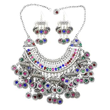 Afghan Silver Color Coin Tassel Bib Statement Necklace & Earring Sets for Women Turkish Gypsy Rhinestone Necklace Party  Jewelry