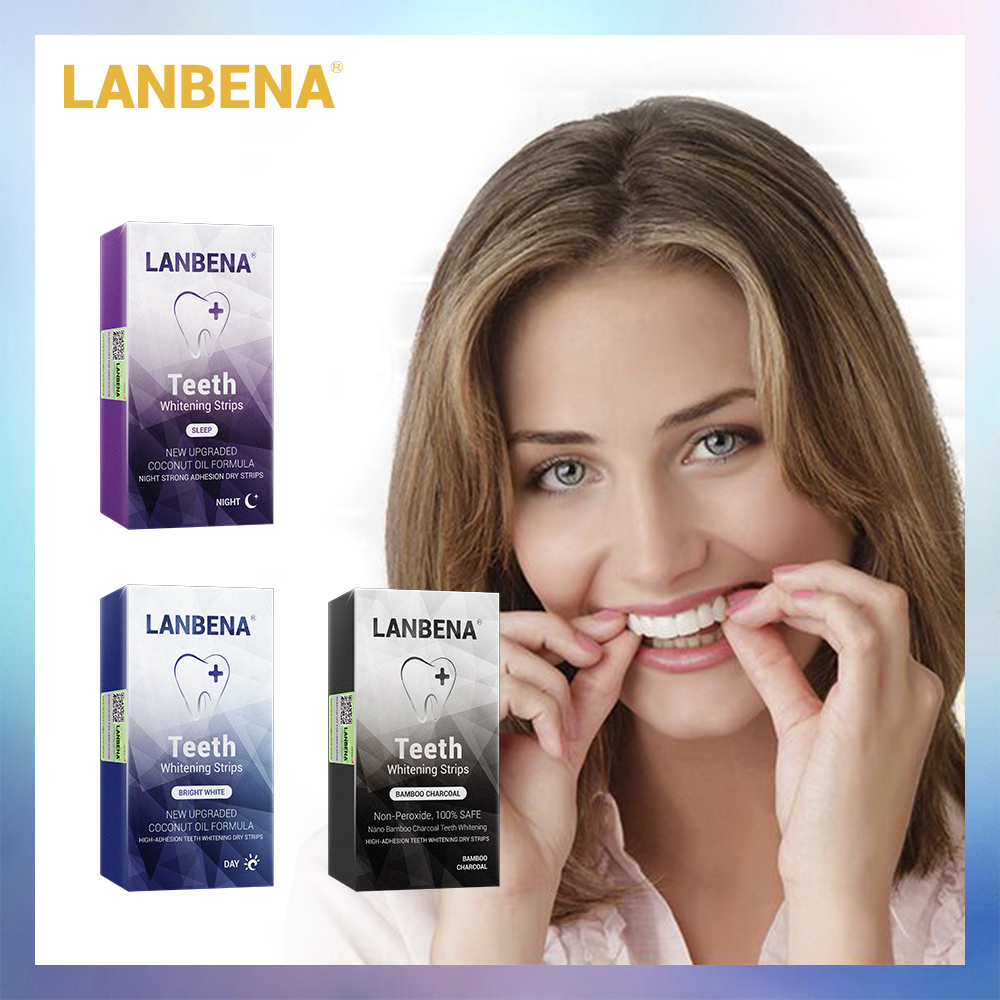 LANBENA Folheados Dentes Higiene Oral Dentes Branqueamento Tiras Tiras Brancas Ferramentas Dente Branqueamento Dental Remove A Placa Bacteriana de Manchas 7 Par
