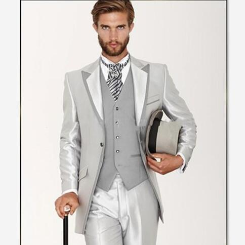 Mens Suits Pants Tuxedos Vest Blazer Jacket Groom Slim-Fit Silver Formal Masculino