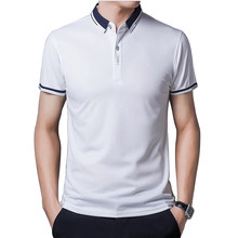 2021 Summer Casual Polo Shirt Men Short Sleeve Turn Down Collar Slim Fit Fashion Casual Business color Polo Shirt For Plus Size