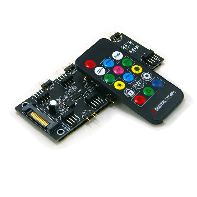 ARGB Lighting + Fan Hub PWM One-piece Controller SATA Power Supply For 4Pin 3Pin Fan PWM Symphony 16-key RF Remote