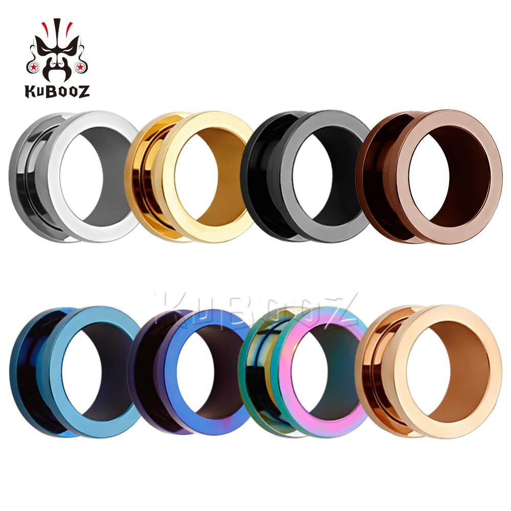 KUBOOZ Popular Stainless Steel Ear Piercing Tunnels Ring Plugs Gauges Screw Expanders Fashion Body Jewelry Unisex Earrings 2PCS 1