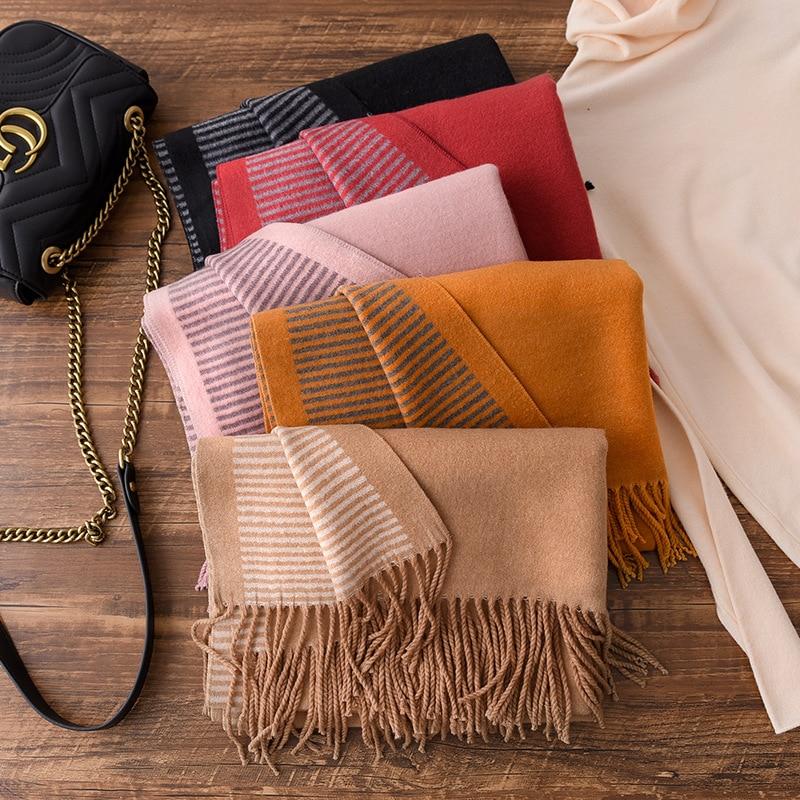 Модный зимний кашемировый шарф для женщин, в полоску, с принтом, косынка, теплые шарфы из пашмины, с кисточками, шали и шарфы для шеи