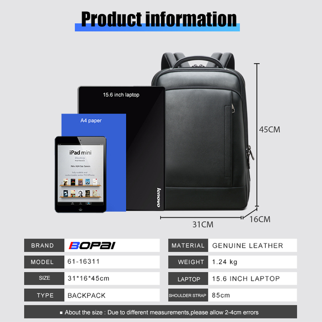 BOPAI Genuine Leather Backpack Laptop Mens Business Casual Waterproof Back Pack Male Computer Bagpack Black Backpacking 6