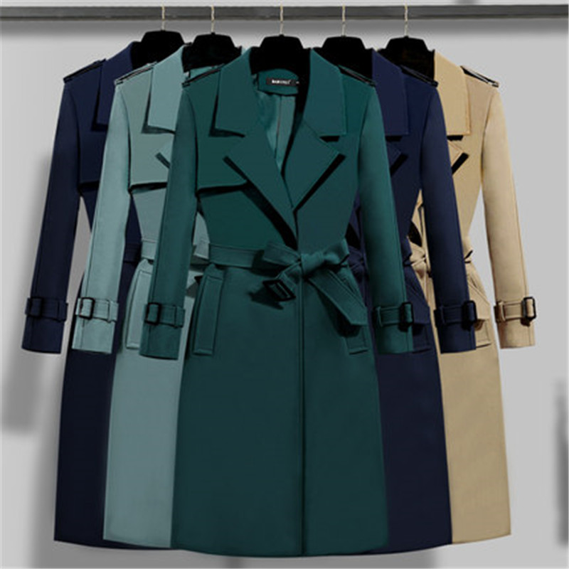 Autumn winter Clothing Solid Color Lady Long Windbreak coat Double Breasted Slim Bur Women   Trench   Coats With Belt outwear 803