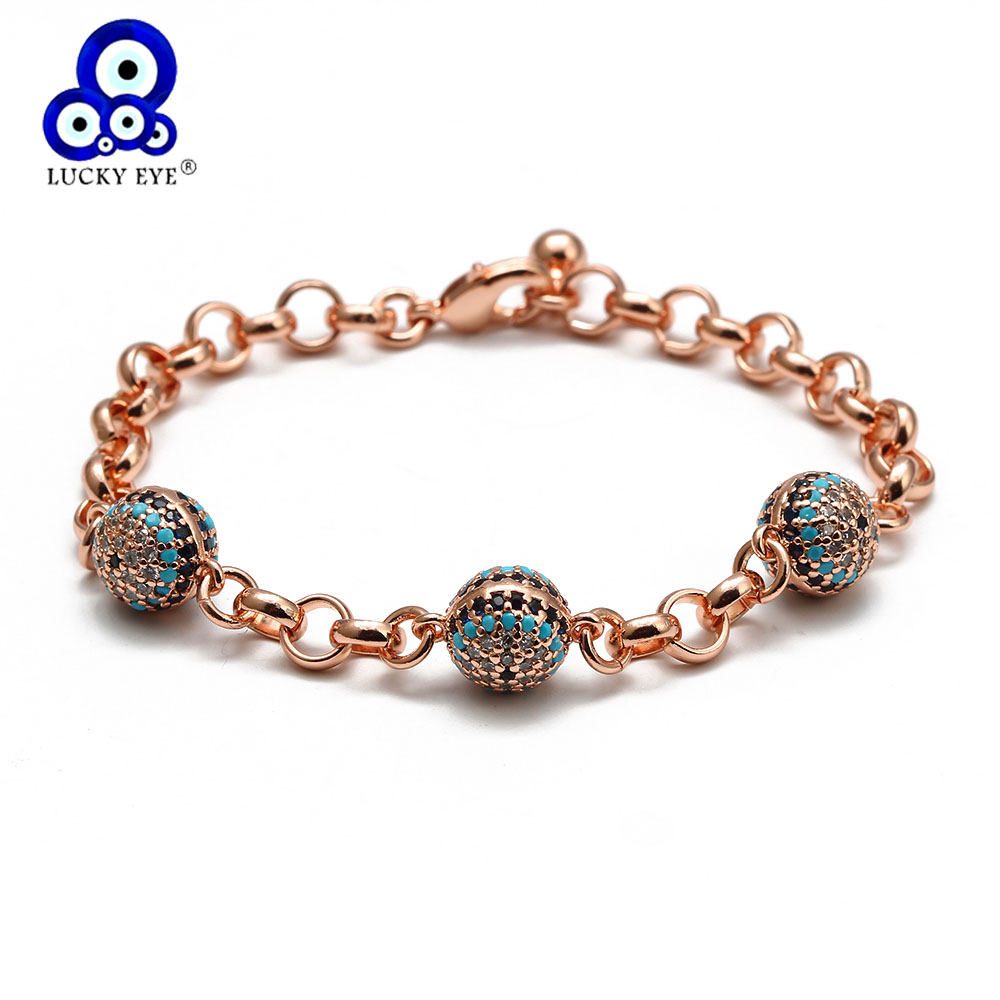 Lucky Eye Ball Charm Bracelet Rose Gold Silver Color Chain Micro Pave Zircon Bracelet Adjustable for Women Girls Jewelry BD166