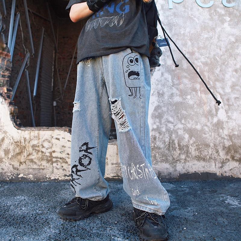 Harajuku Graffiti Print Wide Leg Jeans Mens Womens Blue Wash Hole Jeans Pants For Men Hip Hop Loose Denim Pants 2019