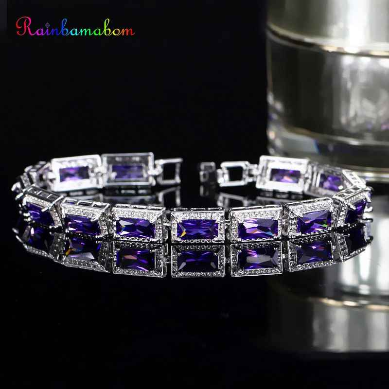 Rainbamabom Ethnic 925 Solid Sterling Silver Morganite Amethyst Ruby Gemstone Bangle Charm Bracelets Fine Jewelry Gift Wholesale