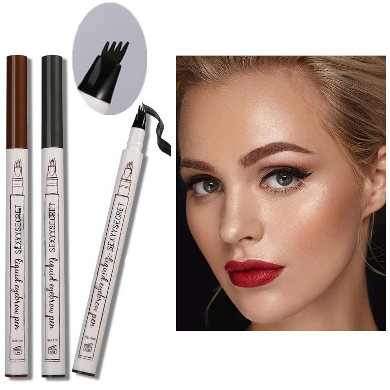 1pc 4 Kopf Feine Skizze Flüssigkeit Bleistift <font><b>Microblading</b></font> Augenbraue Tattoo Stift Wasserdicht Braun Dünne Stift Augenbraue Enhancer Make-Up-Tool image