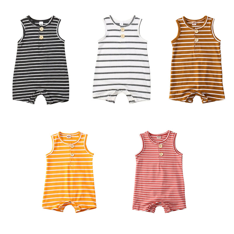 Pudcoco USPS Fast Shipping 0-24M Newborn Baby Girl Boy Summer Bodysuit Clothes Cotton Striped Short Sleeve Jumpsuit Outfits Set