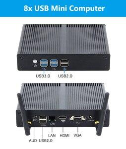 Image 5 - HTPC Desktop Computer Fanless Mini PC Intel Core i3 7100U Pentium 4405U Celeron 3855U Windows 10 DDR3L Linux HDMI VGA Wifi 6*USB