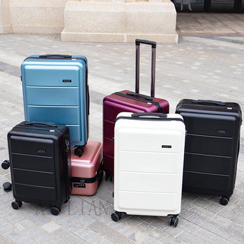 20''24 inch ABS suitcase with wheels travel trolley luggage bag trolley case cabin carry on luggage trolley bage vintage luggage letrend korean trolley cute pink suitcase wheels cosmetic case women vintage leather travel bag retro password box cabin luggage