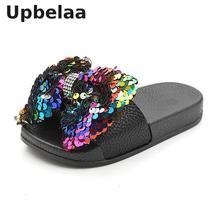 Тапочки для девочек; детская обувь; летние тапочки с бантом и блестками; уличная детская пляжная обувь; сандалии для малышей; домашние шлепанцы на плоской подошве