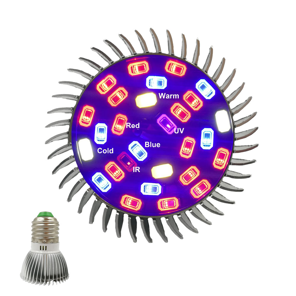 Full Spectrum Grow Light E27 LED Growing Plants Grow Lamp 28leds Red Blue UV IR Led Lamp For Flower Plant Hydroponic Grow