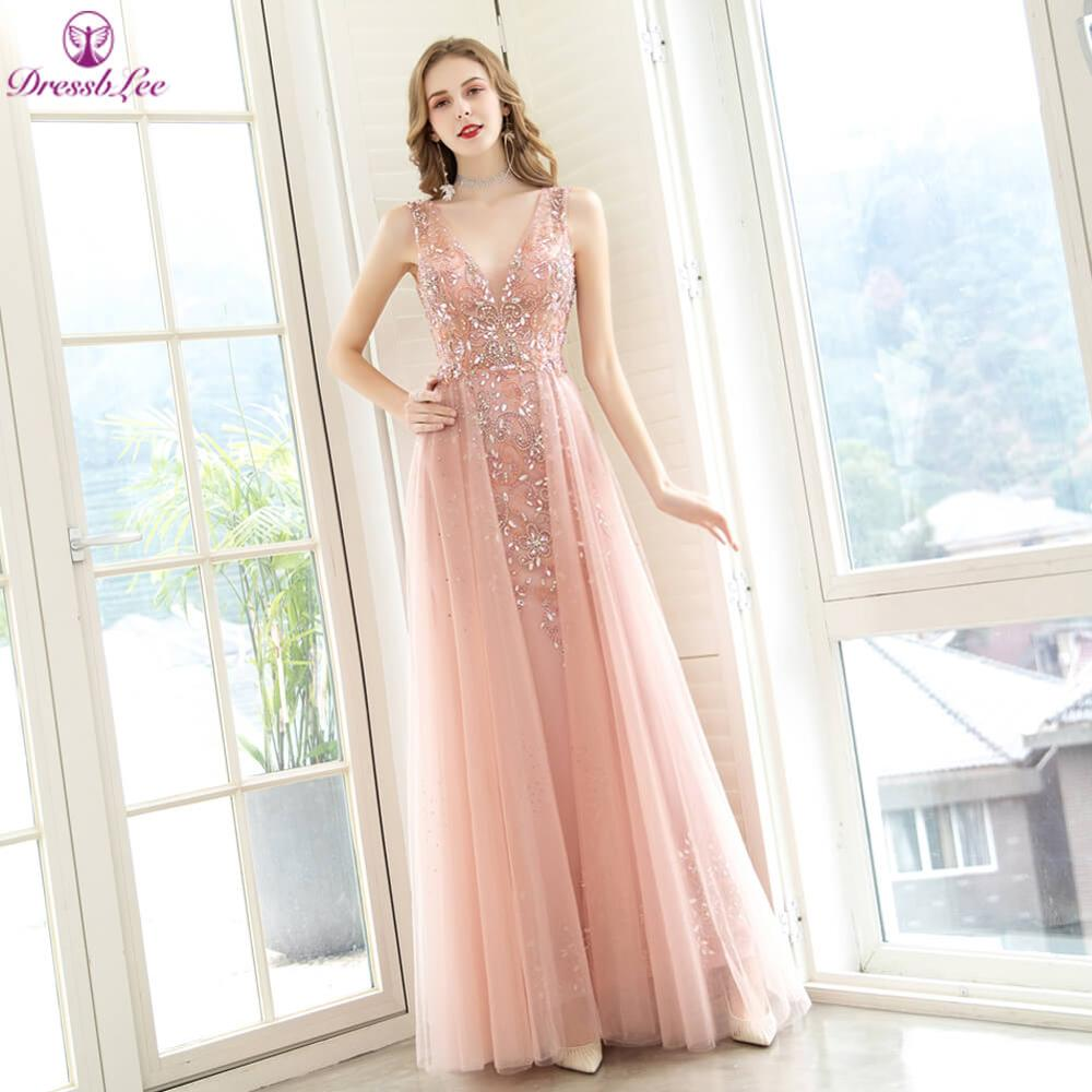 2020 Luxury Sparkle Crystal Pink Plus Size Evening Dresses V-Neck Backless Transparent Formal Party Gowns Long Evening Dress