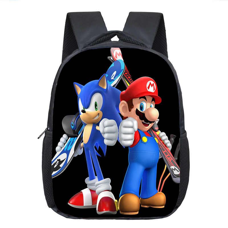 Cartoon Mario / Sonic Rucksack Kinder Schule Taschen Baby Kleinkind Rucksack Kinder Kindergarten Tasche Jungen Mädchen Bookbag Beste Geschenk