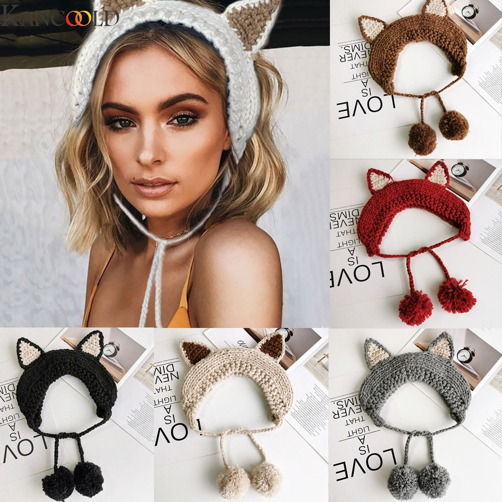 KANCOOLD Knit Wool Crochet Earflap Winter Autumn Warm Plush Ear Muffs Cute INS Fashion For Girls Ladies Women Street Dress
