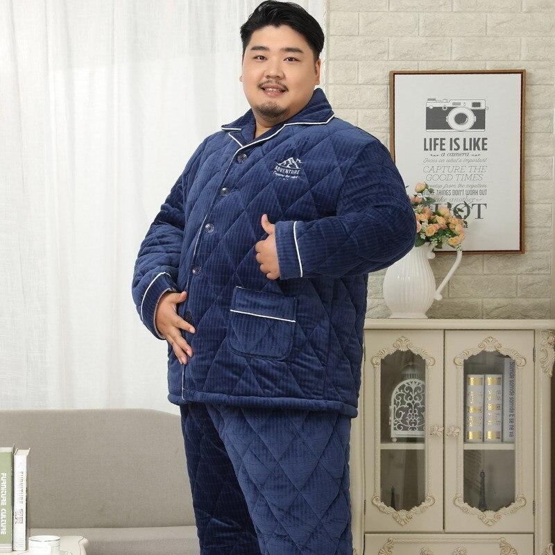 Sleepwear Men Pyjamas Plus-Size Sets Long-Sleeves Flannel Super-Warm-Pajamas Winter 5XL