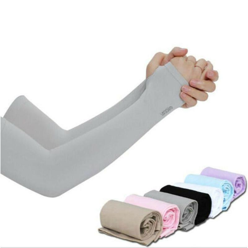 1 Pair Arm Sleeves Summer Sun Uv Sunscreen Ice Silk Cuffs For Men Women Outdoor Sports Cycling Running Arm Skin Protection Cover
