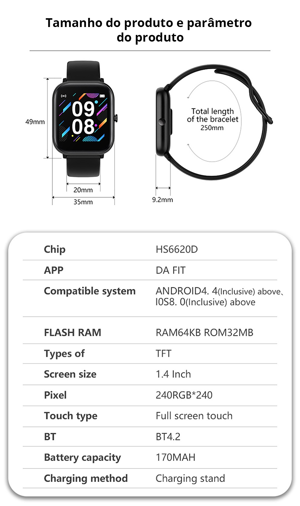 H01b7b4dc345a47fd8a1fdf65cb8262fau SQR P8 SE Smart Watch Men Women 1.4 Inch Fitness Tracker Full Touch Screen Ip67 Waterproof Heart Rate Monitor for iOS Android