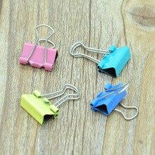 10 Uds 20 piezas Uds colorido Clips de carpeta metálicos Clip de papel 15mm insumos de aprendizaje para oficina Color al azar