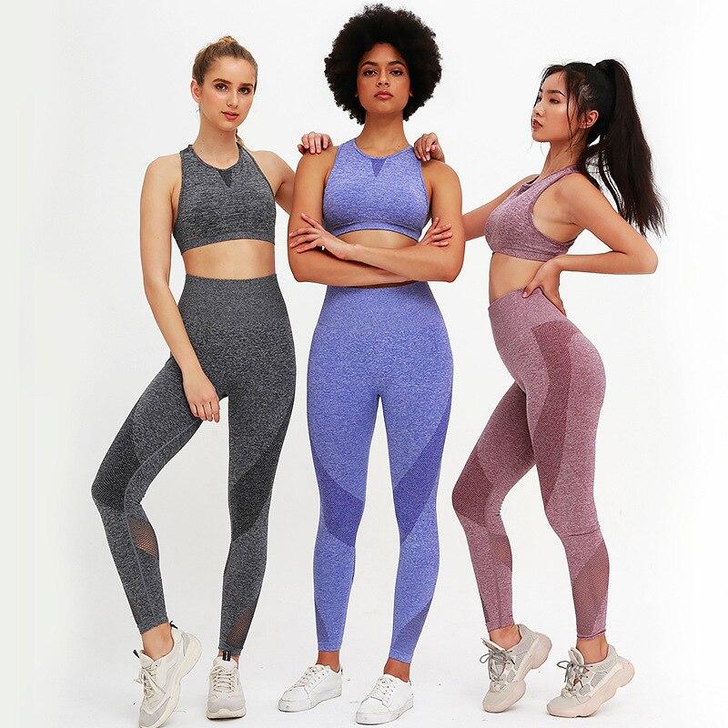 Conjunto de Ginástica sem Costura Esportivas para Academia Agasalho de Treino Feminino Roupas Fitness Peças 2020 2