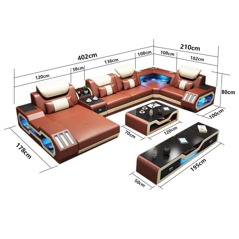 Sofa Bed Genuine 7 Seater Leather