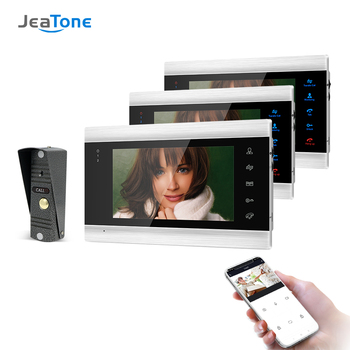 Jeatone 7 Inch Wifi Smart IP Video Door Phone Intercom System with 3 Night Vision Monitor + 1 Rainproof Doorbell Camera tmezon 7 inch tft wired smart video door phone intercom system with 3 night vision monitor 2x1200tvl rainproof doorbell camera