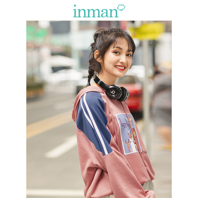 INMAN Spring Autumn Fashion Contrast Color Print Casual Loose Personality Women Hoodies