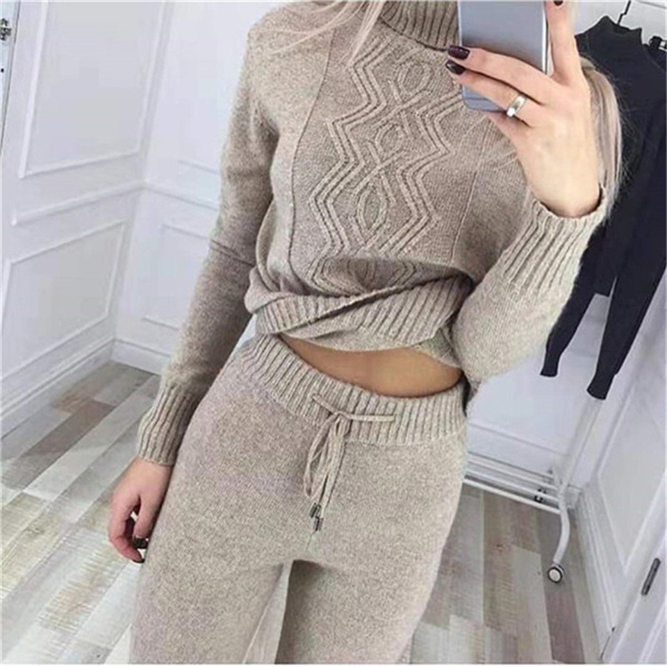 Tracksuit For Women 2019 New Turtleneck Sweatshirt And Pants Two Piece Set Casual Knitted Trousers+Jumper Tops Suit 2 Piece Set