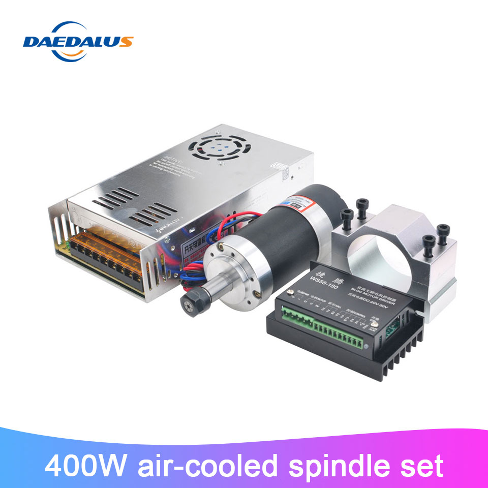 Brushless CNC Spindle 400W Air Cooled DC Spindle ER11 55MM Clamp Stepper Motor Driver Switching Power Supply For Milling Machine|Machine Tool Spindle| |  - title=