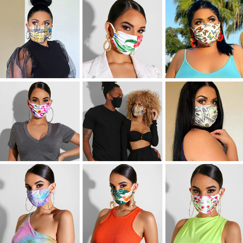 Flower Print Women Cotton Mask For Woman Man 2020 Fashion Breath Valve Mouth Masks Reusable Protective Dustproof Mouth Mask