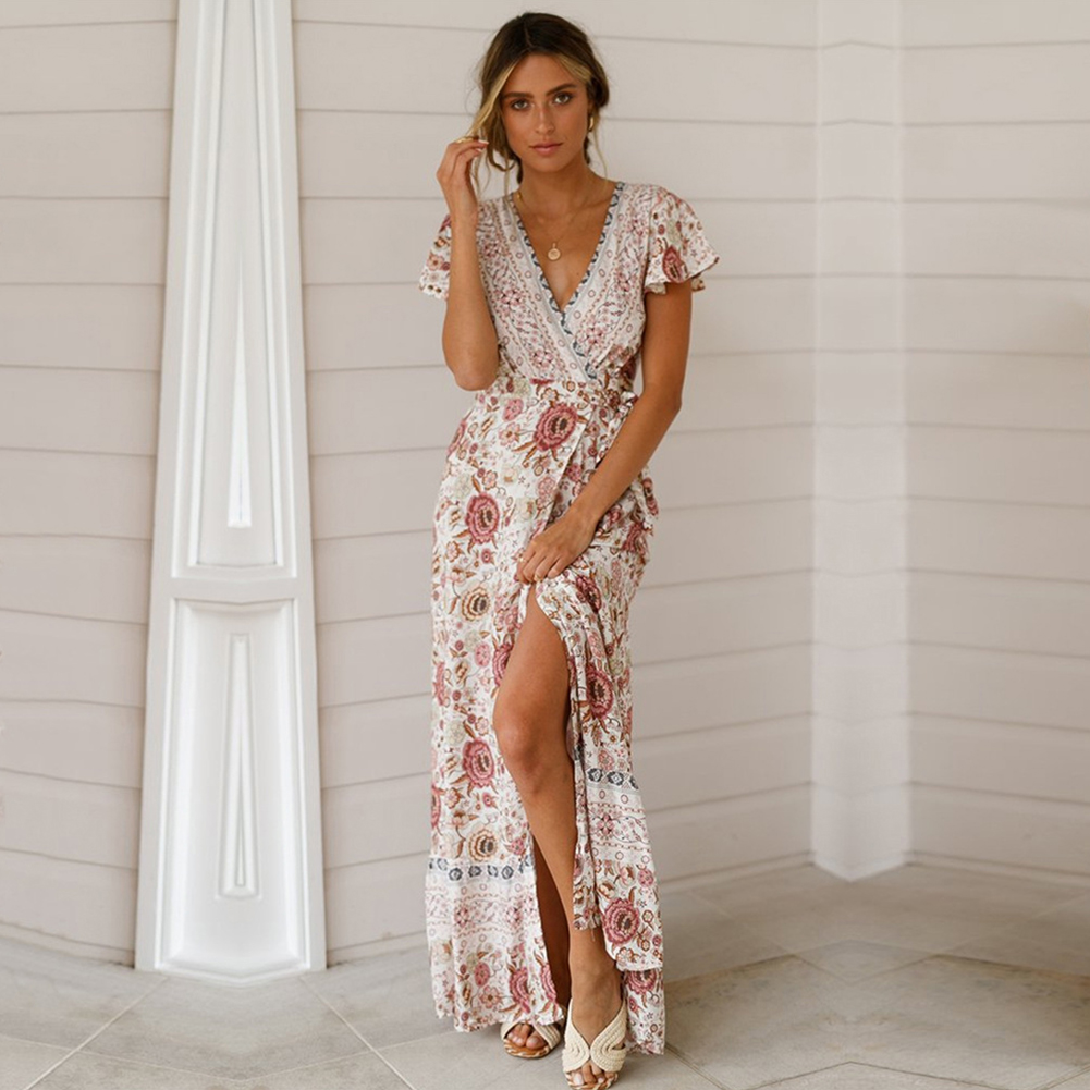 Holiday Long Women Dress Beach Pullover Summer Fashion Sexy Ruffle Sleeve Cotton Blend V Neck Front Split Casual Floral