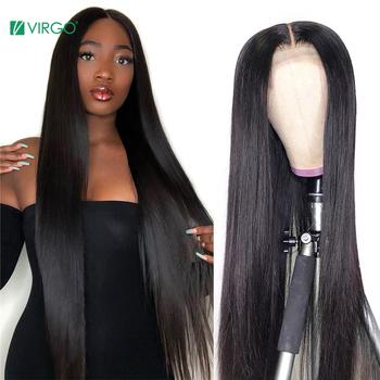 Panna 4 #215 4 zamknięcie peruka zamknięcie koronki peruka prosto koronkowa peruka na przód 150 Remy 30 cal koronkowa peruka brazylijski ludzki włos peruka zamknięcie peruka tanie i dobre opinie VOLYS VIRGO long Proste Koronki przodu peruk CN (pochodzenie) Remy włosy Pół maszyny wykonane i pół ręcznie wiązanej